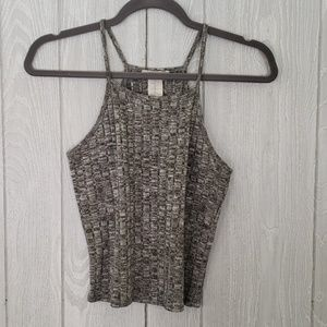 Poetry Knit-Ribbed Halter Crop Top Medium